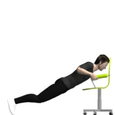 push ups between chairs. chair push-up, incline ending position push ups between chairs
