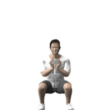 Dumbbell Goblet Squat Ending Position