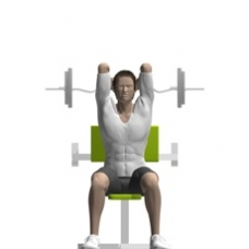 Ez-Bar Triceps Extension, Seated, Preacher Bench Starting Position