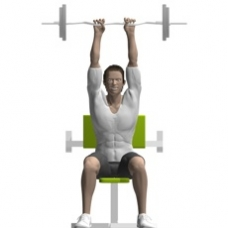 Ez-Bar Triceps Extension, Seated, Preacher Bench Ending Position