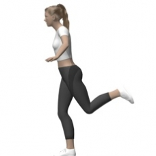 Bodyweight Only Hip Extension, Standing, Flexed Leg Ending Position