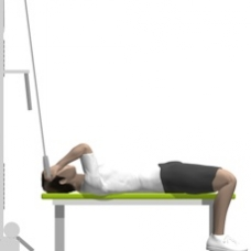 Cable Curl, Supine, One Arm, On Flat Bench Ending Position