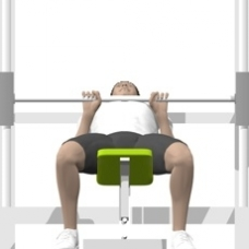 Smith Press Close Grip Bench Press, Incline Starting Position