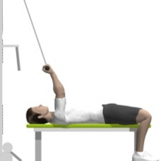 Cable Curl, Supine, On Flat Bench Starting Position