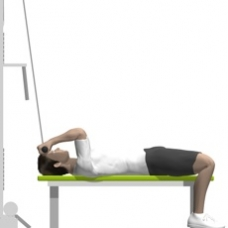 Cable Curl, Supine, On Flat Bench Ending Position