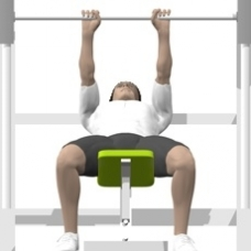 Smith Press Close Grip Bench Press, Incline Ending Position