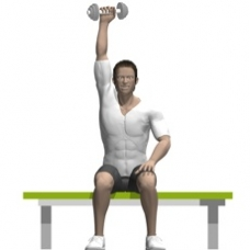 Dumbbell Triceps Extension, Seated, One Arm Ending Position